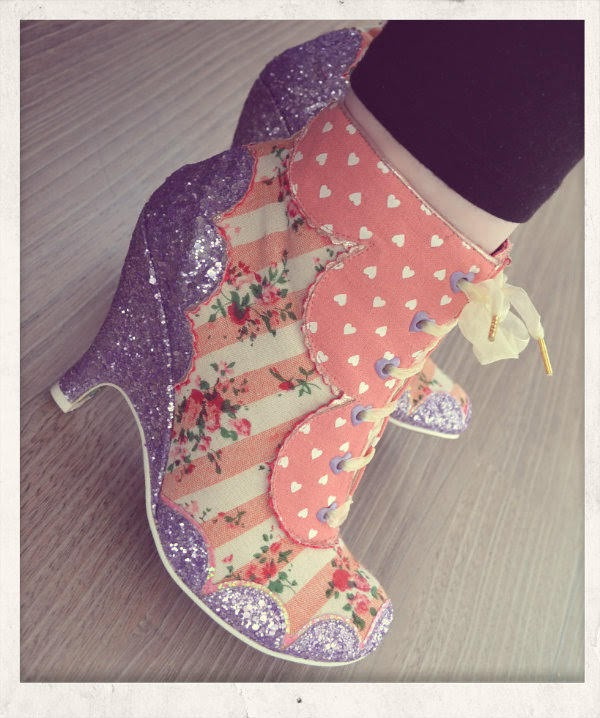 striped floral and lilac glitter ankle boots on feet