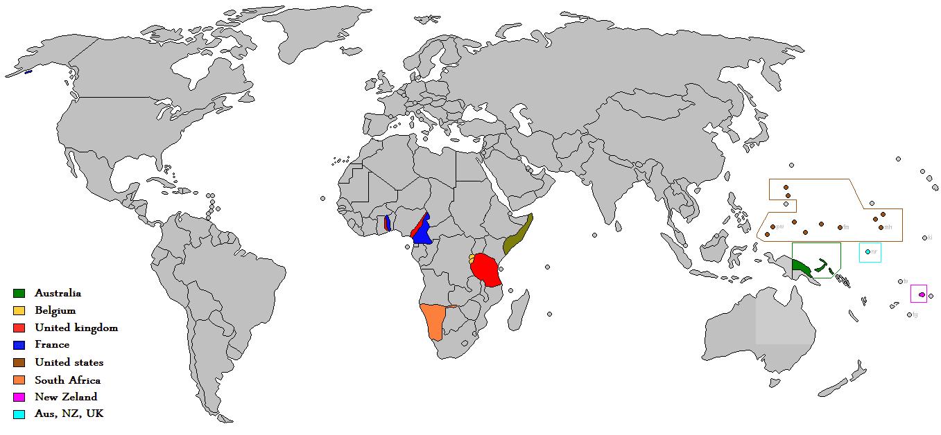 Map of UN trust territories
