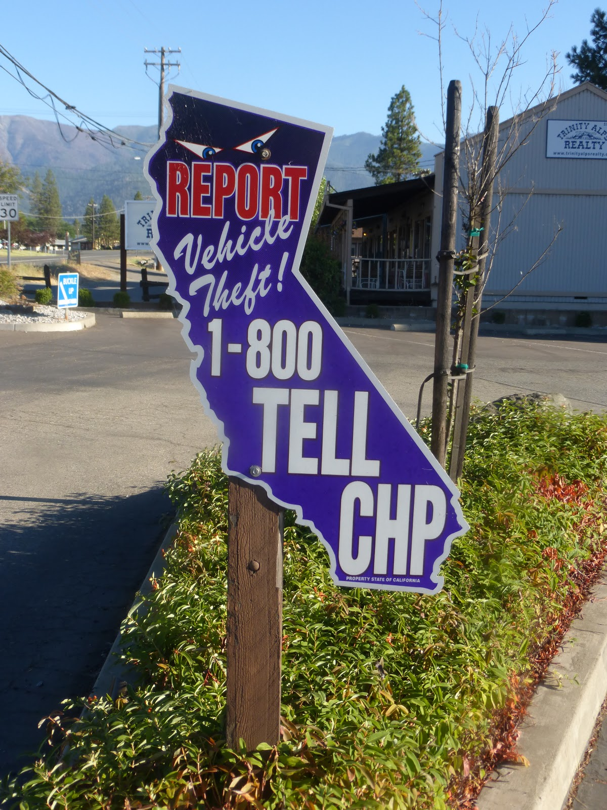 weaverville california trinity county chp headquarters is adjacent to the dept of motor vehicles perhaps this sign responds to the reality that rural