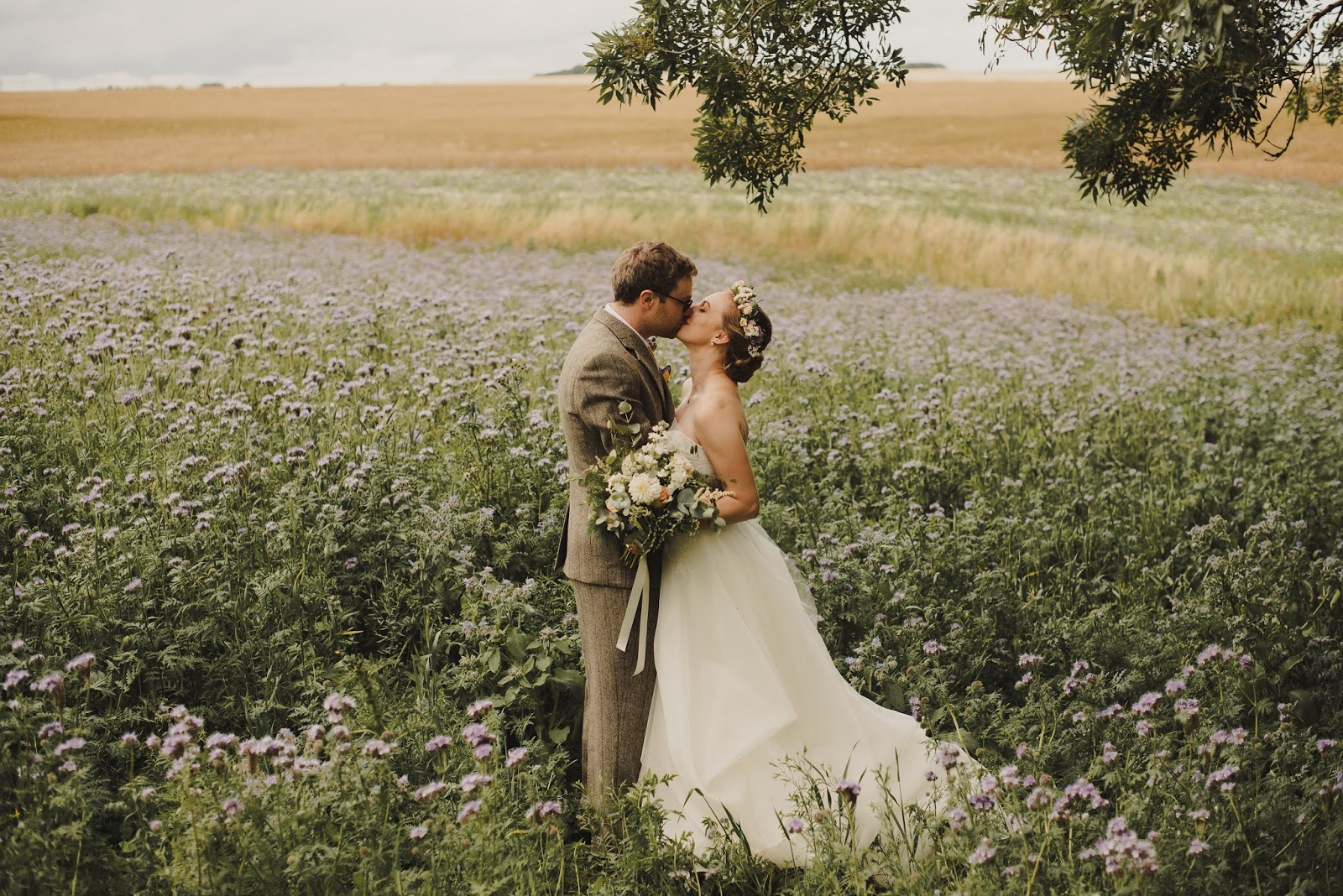 Scotland wedding inspiration couple in field