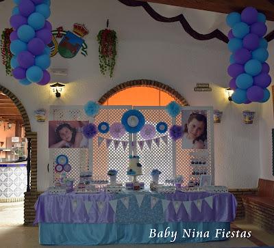 mesa dulce comunion celeste y lila