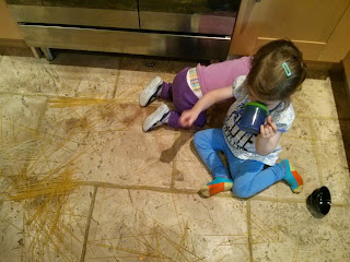 spaghetti all over the floor