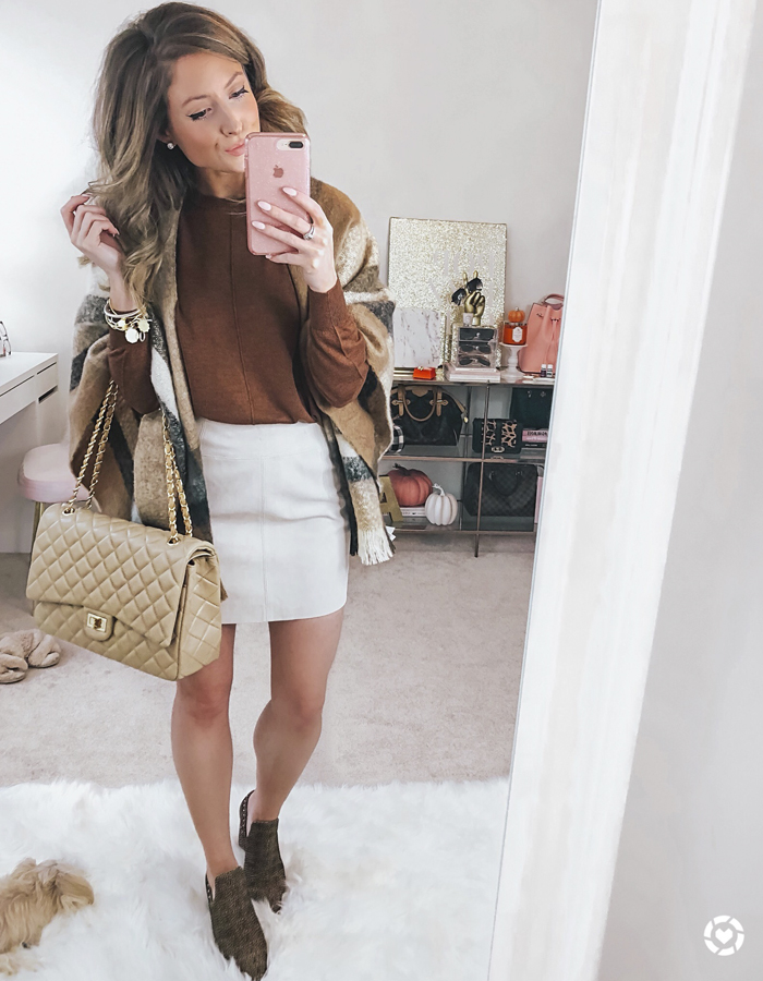 h&m short suede skirt