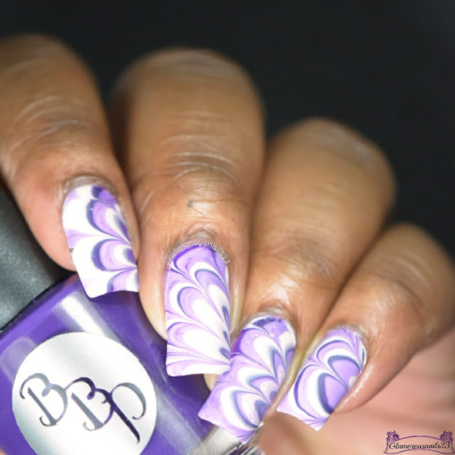 Watermarble Wednesdays: Dark Purple, Lilac & White