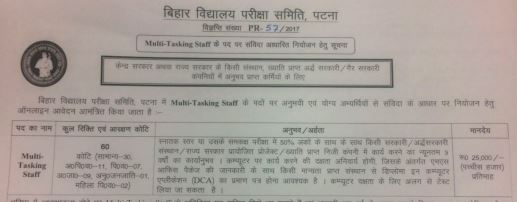 image :  Bihar School Examination Board Multi Tasking Staff Recruitment 2017 @ JobMatters.in