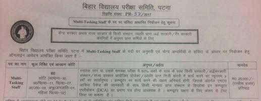 image :  Bihar School Examination Board Multi Tasking Staff Recruitment 2017 @ JobMatters.in