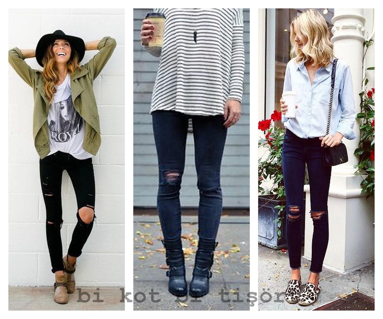 Bi Kot Bi Tişört 2015 Ilkbahar Yaz Trendleri Yırtık Jean