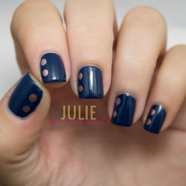 Navy with Gold Dots | Wedding Nails