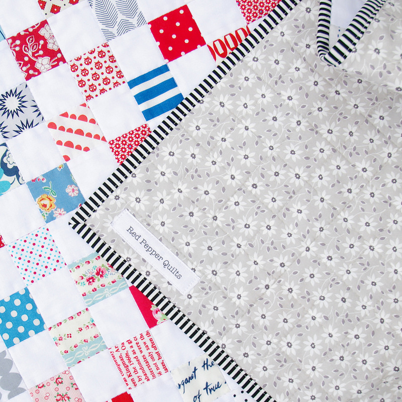 Red White Blue Postage Stamp Quilt - Backing and binding | Red Pepper Quilts 2016