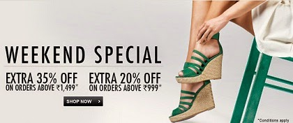 Weekend Special Offer: Upto 67% Off + Flat 35% Additional Off on Women's Flats / Heels / Sandals at Flipkart