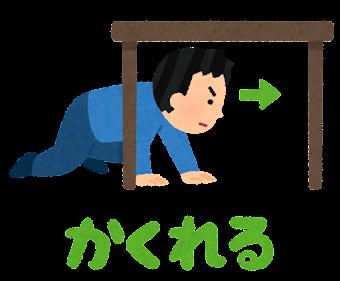 シェイクアウト訓練のイラスト(隠れる)