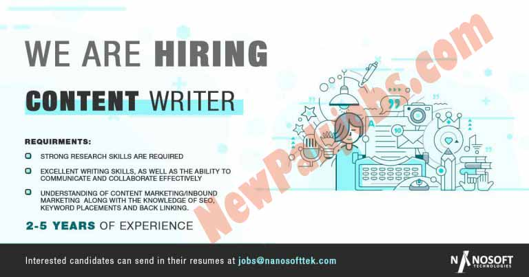 Content Writer Jobs in Nano Soft Technology