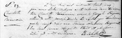 Charlotte Beaurosier 1835 burial record