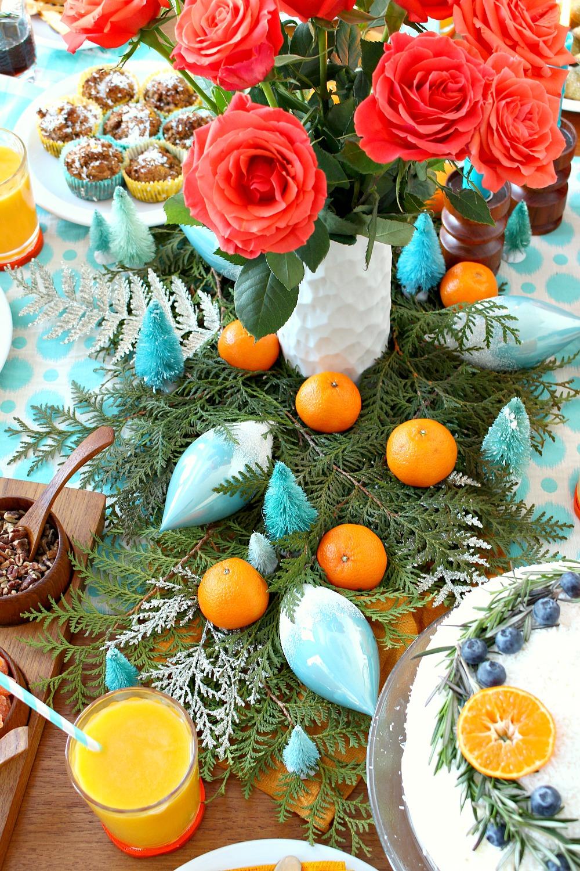 Orange + Turquoise Holiday Brunch Decor | Plus a Delicious Emergen-C Mango + Orange Pick-Me-Up