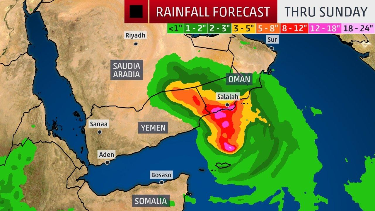 this map from the weather channel depicts insane amunts of rain from cyclone mekunu in oman and yemen in an area that gets