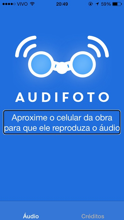 AudiFoto: captura de tela do aplicativo