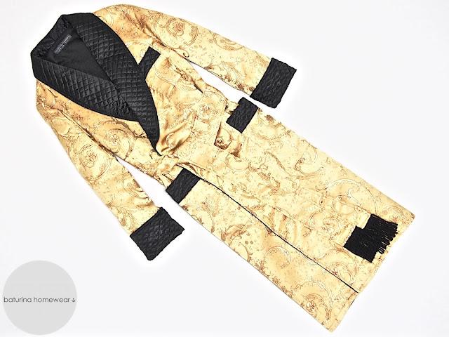 Mens paisley silk dressing gown luxury robe smoking jacket gold black