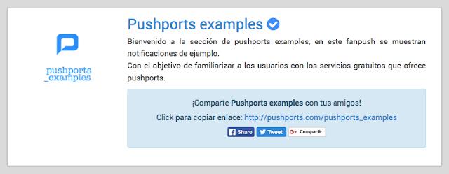 Fanpush vista mis fanpush en pushports versión web B 1.1.1