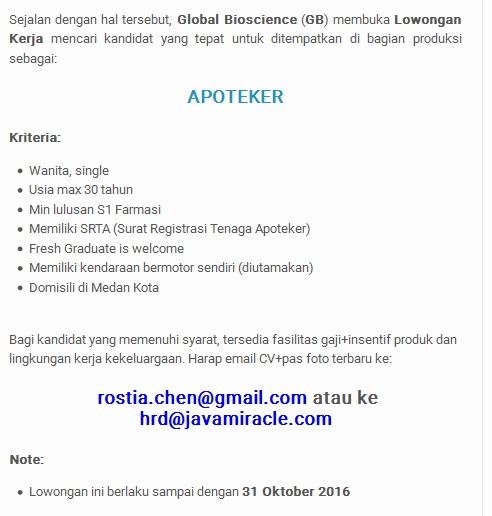 Lowongan Kerja Apoteker Medan