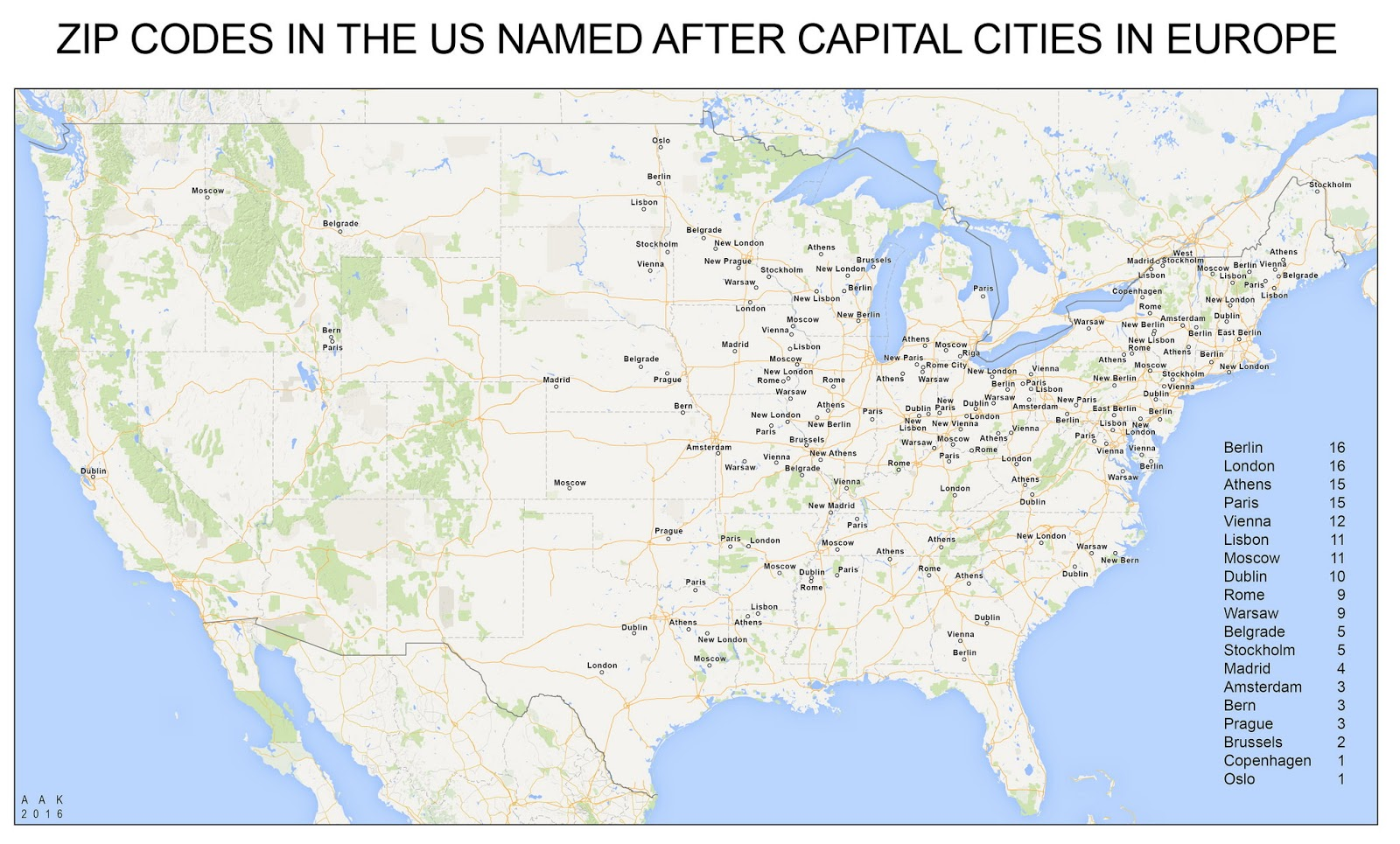 Places in the U.S. named after capital cities in Europe