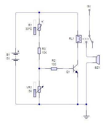 Rangkaian Alarm Sensor Suhu Dengan Thermistor