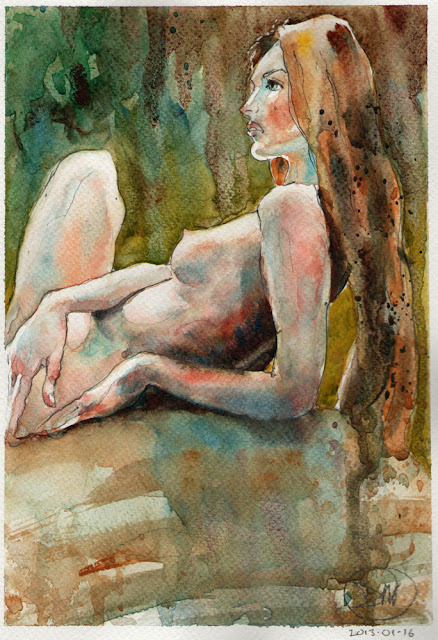 Watercolour nude study from photograph by David Meldrum