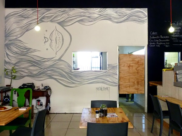 Restaurant Review: Parc Cafe - another awesome Durban spot - mural by Pastel Heart
