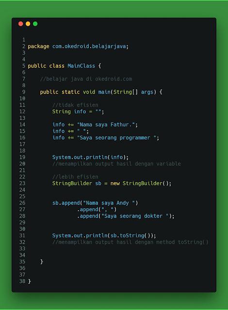 Contoh Code Perbandingan Perbedaan Program Fungsi Class String dan StringBuilder Java