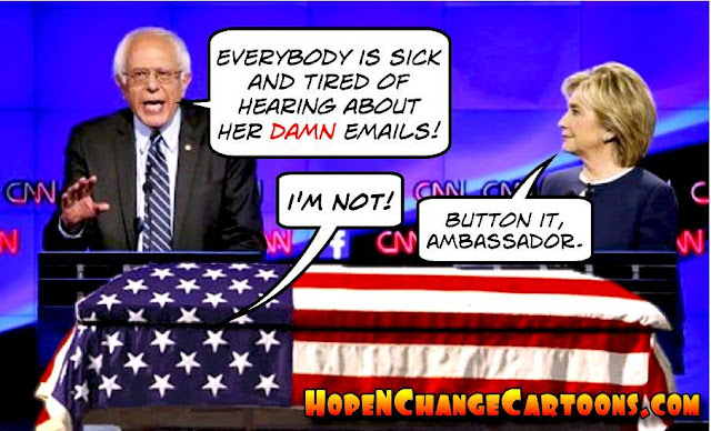 obama, obama jokes, political, humor, cartoon, conservative, hope n' change, hope and change, stilton jarlsberg, bernie sanders, hillary, emails, debate, benghazi