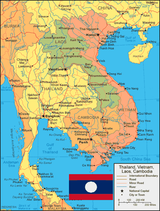 negara Laos terletak di Benua Asia atau lebih tepatnya di Asia Tenggara  Peta Negara Laos Lengkap dengan Kota, Sumber Daya Alam, Batas Wilayah dan Keterangan Gambar Lainnya