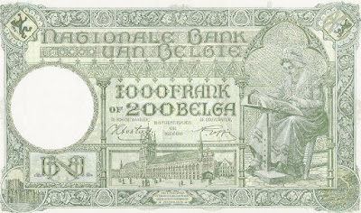 Bank note of 200 Belga showing the Ypres Cloth Hall