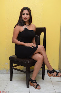 Vrushali Gosavi in strapless Short Black Dress At Follow Follow U Audio Launch 031.JPG