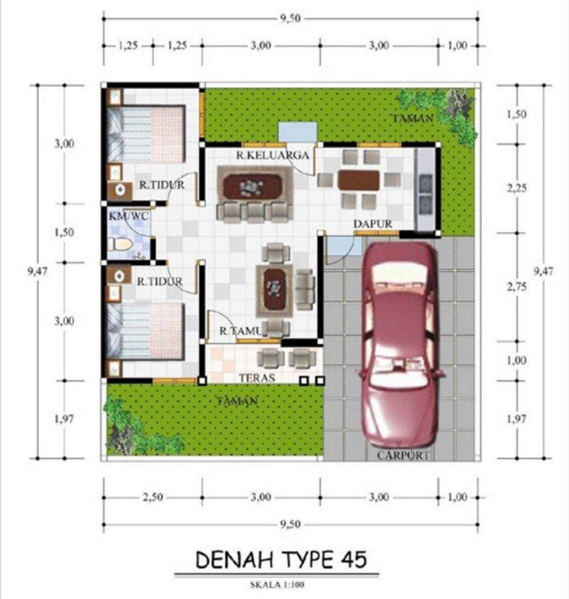 Desain Denah Rumah Minimalis 9x10 Type 45 2020