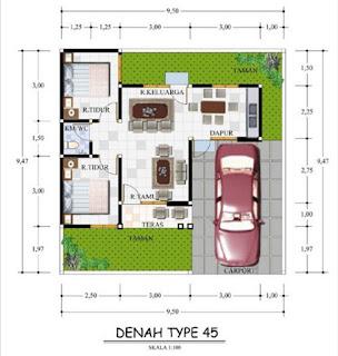 Desain Denah Rumah Minimalis 9×10 Type 45 2018