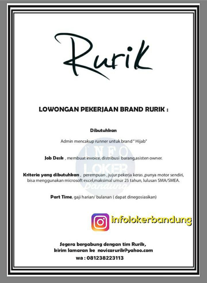 Lowongan Kerja Brand Rurik Bandung November 2017