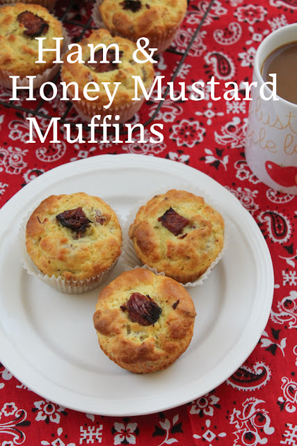 Food Lust People Love: These ham and honey mustard muffins are the perfect breakfast or snack for anyone who loves honey mustard glazed ham at Christmas. The honey and mustard are the perfect complement to the smoky chunks of ham in these savory muffins. Use a good quality baked ham, not just sandwich slices for the best tasting muffins.