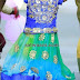 Blue and Green Mirror Work Lehenga