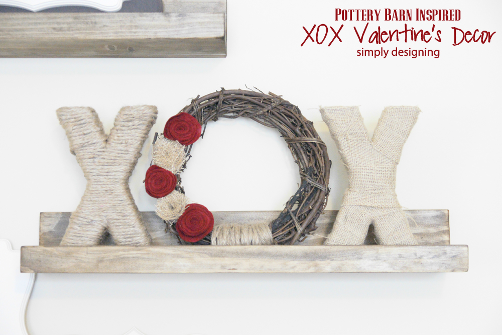 XOX Shabby Valentine's Decor {Pottery Barn Inspired} | #tutorial #crafts #diy #valentinesdecor #decor #valentinesday #xoxo