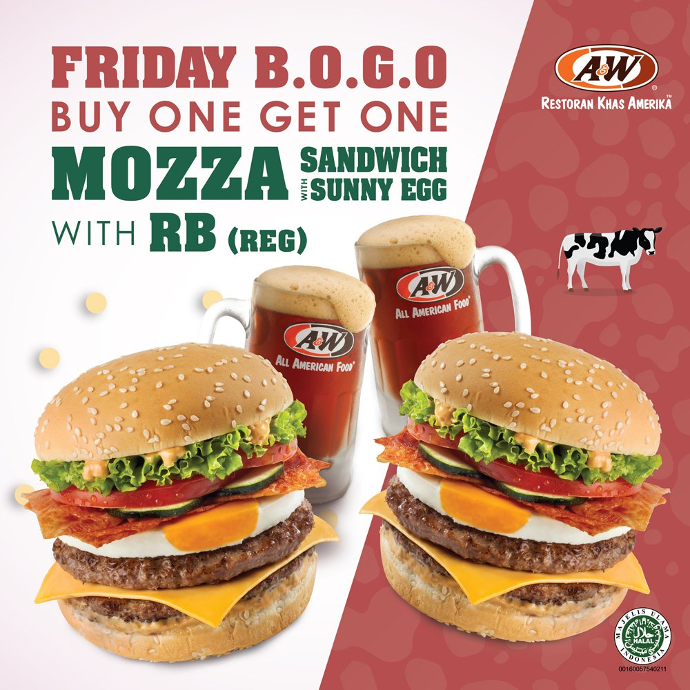 A&W - Friday Promo Buy 1 Mozza with Sunny Egg & RB + Get 1 Free