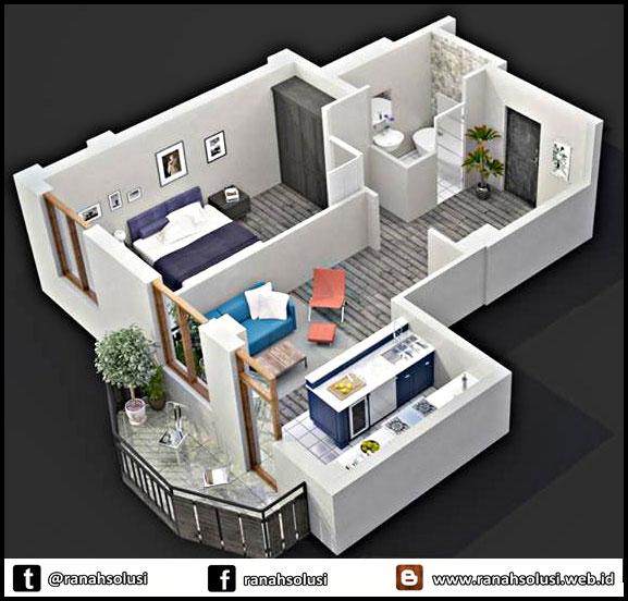 Model Denah Rumah Minimalis Sederhana 1 Kamar Tidur