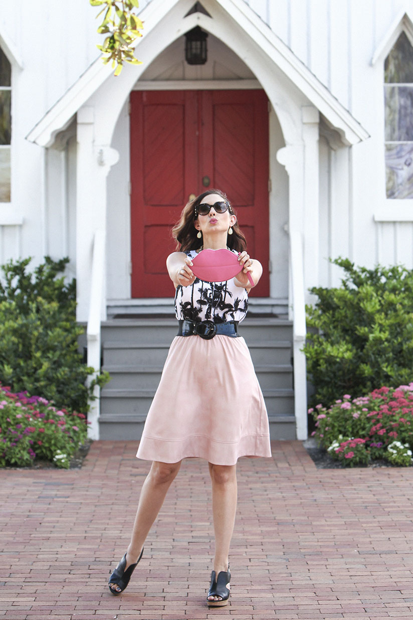 Amy West in faux suede skirt from Le Tote