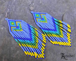 купить этнические украшения ручной работы из бисера сережки крупные