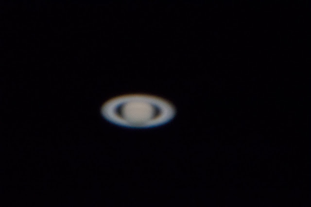 First attempt at Saturn in this 1/125 second DSLR image at MWO 60 inch telescope (Source: Palmia Observatory)