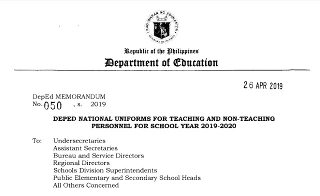 Deped National Uniforms For Teaching And Non-Teaching Personnel For School Year 2019-2020