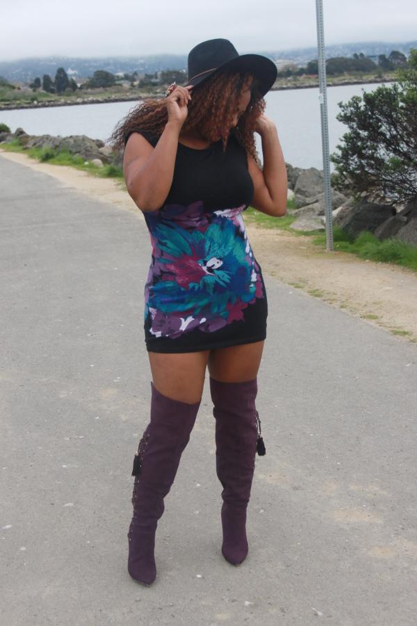 purple-thigh-high-boots, black-flat-wide-brim-hat, plus-size-blogger, black-fashion-blogger, freetress-milan-wig, little-black-dress-mini