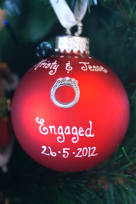 Personalised Engagement Bauble - Christmas 2012 - Christmas Ornament