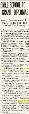 "Climbing My Family Tree: ""Bible school to grant diplomas"" Findlay Republican Courier, 7 May 1937, p 5"