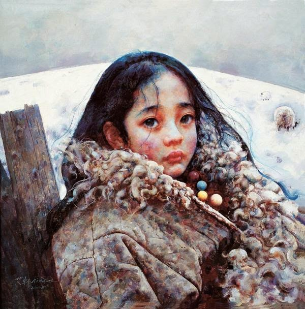 "Emotional Tibet Girl Paintings by Chinese Artist ""Ai Xuan"""