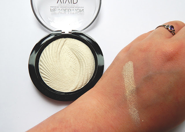 Makeup Revolution Vivid Baked Highlighter in Golden Lights including swatch.