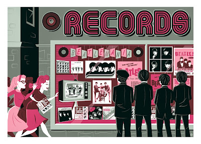 """The Record Store"" The Beatles Metallic Variant Screen Print by Dave Perillo"